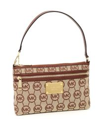 MICHAEL Michael Kors | Natural Jet Set Large Wristlet, Ebony/mocha Monogram | Lyst