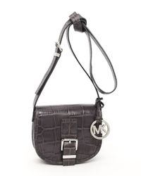 MICHAEL Michael Kors | Black Small Saddle Bag Messenger, Slate Nappa Croco-embossed Leather | Lyst