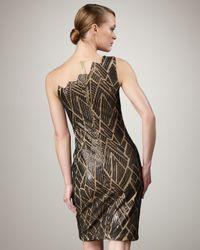 Tadashi Shoji | Black One-shoulder Illusion Print Dress | Lyst