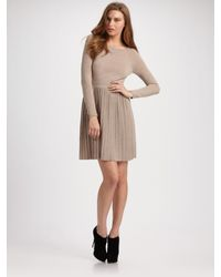 Tibi | Natural Merino Wool Pleated Sweater Dress | Lyst