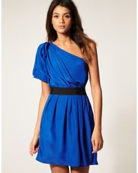 ASOS Collection | Blue Asos One Shoulder Drape Dress with Pleats To Skirt | Lyst