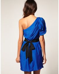 ASOS Collection - Blue Asos One Shoulder Drape Dress with Pleats To Skirt - Lyst