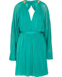 Halston | Green Draped Crepe Dress | Lyst