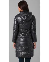 Duvetica - Black Alia Coat with Fur Trim - Lyst