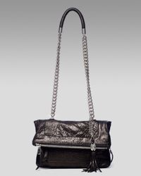 Olivia Harris - Black Zip-pocket Fold-over Shoulder Bag - Lyst