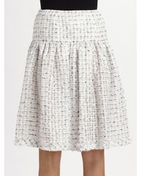 Oscar de la Renta - White Pleated Bouclé-tweed Skirt - Lyst