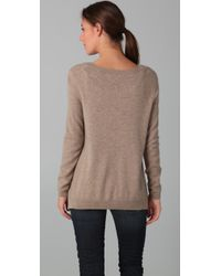 Vince | Natural Uneven V-neck Sweater | Lyst