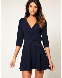 ASOS Collection - Blue Asos Wrap Dress with Bow Detail - Lyst