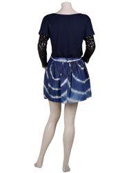 Gryphon - Blue Tie Dye Leather Skirt - Lyst