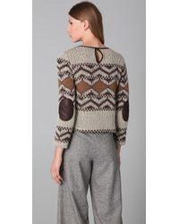 Porter Grey - Brown Cropped Adirondack Sweater - Lyst