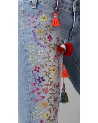 Textile Elizabeth and James - Blue Embroidered Jimi Flare Jeans - Lyst