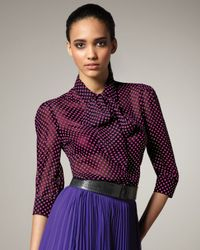 Halston | Black Polka Dot Blouse | Lyst