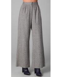 Porter Grey - Gray Wide Leg Tweed Trousers - Lyst