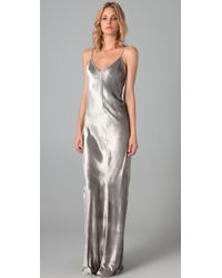 T By Alexander Wang | Metallic Panne Velvet Cami Long Dress | Lyst