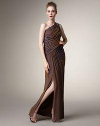 Tadashi Shoji | Metallic Grecian Chiffon Gown | Lyst