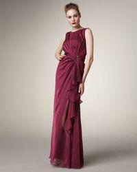 Tadashi Shoji - Red Jewel-waist Gown, Merlot - Lyst