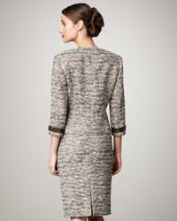 Tahari | Black V-neck Tweed Suit | Lyst