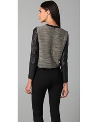 3.1 Phillip Lim | Multicolor Raglan Top with Leather Sleeves | Lyst