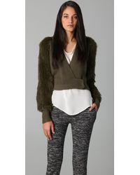 3.1 Phillip Lim | Green Hooded Wrap Cardigan with Fur Sleeves | Lyst