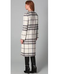 Adam Lippes - White Long Plaid Coat - Lyst