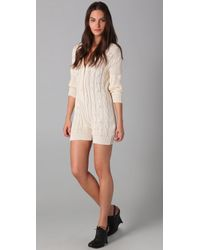 Shakuhachi | Natural Cable Knit Playsuit | Lyst