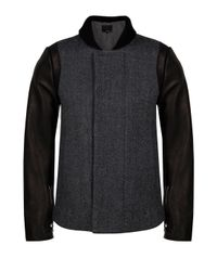3.1 Phillip Lim | Black Leather Sleeve Slim Fit Peacoat for Men | Lyst