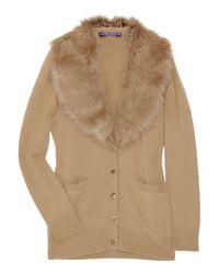 Ralph Lauren Collection | Natural Shearling-collar Cardigan | Lyst