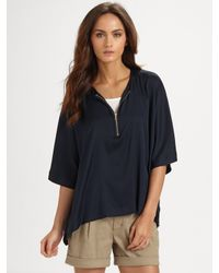 VINCE | Blue Silk-rich Caftan Top | Lyst