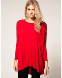ASOS Red Loose Drape Long Sleeve Top