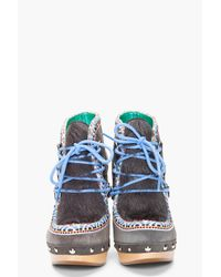 Belle By Sigerson Morrison | Gray Suede Clog Eskimo Boots | Lyst