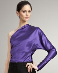 Ralph Lauren Collection | Purple Single-sleeve Satin Blouse | Lyst