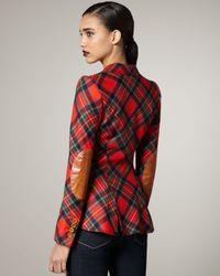 Smythe | Red Elbow-patch Plaid Blazer | Lyst