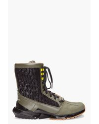 Y-3 | Green Warrior High Boots for Men | Lyst