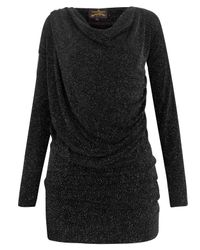Vivienne Westwood Anglomania | Black Glitter Drape Top | Lyst