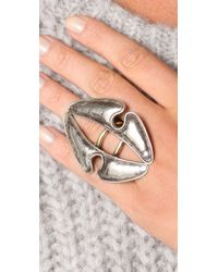Anndra Neen - Metallic Vertical Hammered Ring - Lyst