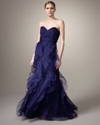 Badgley Mischka | Purple Strapless Ruffle-bottom Gown | Lyst