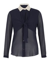 Carven Blue Navy Tie Front Silk Blouse