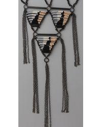 Chan Luu | Black Geometric Chain Fringe Necklace | Lyst