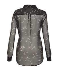 Equipment Sheer Black Silk Bird Print Shirt