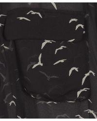 Equipment | Sheer Black Silk Bird Print Shirt | Lyst