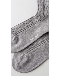 Falke Gray Striggings Cable Knit Knee High Socks