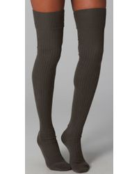 Falke | Gray Striggings Ribbed Over The Knee Socks | Lyst