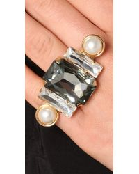 Fallon - Metallic Bourdin Pearl and Crystal Ring - Lyst