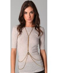Fallon | Metallic Harness Body Chain | Lyst