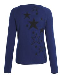 Hazel - Blue Tattoo Star Cashmere Cardigan - Lyst