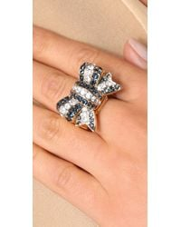 Juicy Couture - Blue Brentwood Prepster Pave Bow Ring - Lyst