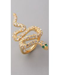 Kenneth Jay Lane - Natural Crystal Snake Ring - Lyst