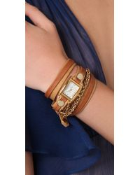La Mer Collections | Brown Tobacco Layer Watch with Gold Motor Chain | Lyst
