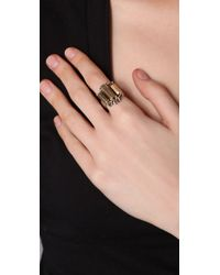 Low Luv by Erin Wasson - Metallic Metal Crystal Cocktail Ring - Lyst
