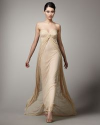 Mandalay - Natural Strapless Lace Gown - Lyst